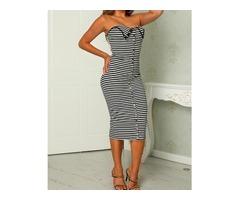 Striped Zipper Front Bodycon Midi Dress