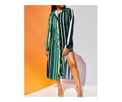 Causal Contrast Striped Slit Shirt Dress