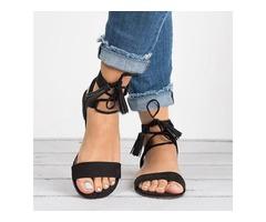 Fringe Cross Lace Up Roman Sandals For Women