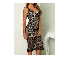 Crochet Lace Overlay Backless Slit Slip Dress