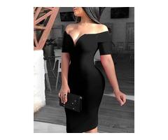 Solid Off Shoulder Short Sleeve Bodycon Dress