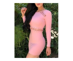 Solid Long Sleeve Lace-Up Eyelet Bodycon Dress