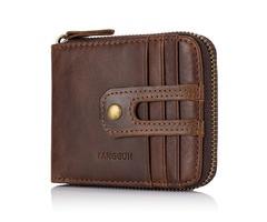 Men Genuine Leather Fashion Hasp Zipper Around Wallet