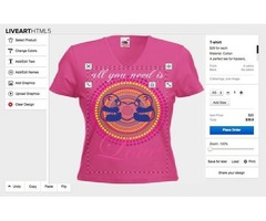 What benefits can customers get from a t-shirt designer tool?