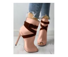 Suede Crisscross Bandage Peep-toe Thin Heels