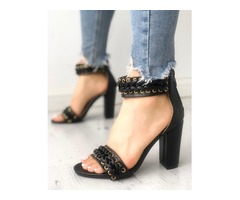 Eyelet Lace-Up Strappy Chunky Heeled Sandals