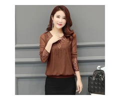 Chiffon 2020 Women Shirt Hollow out Long Sleeve Embroidery Sequin Bead Lace Mesh Blouse Shirt.