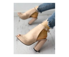 Solid Suede Peep Toe Slingback Chunky Heels
