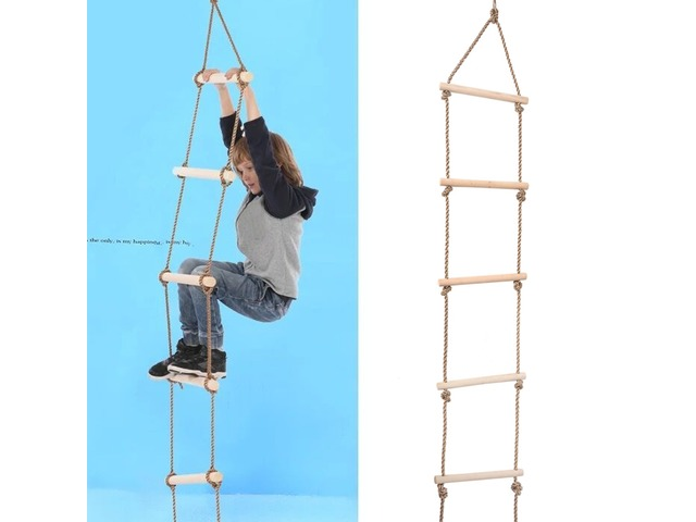 Kids Indoor Outdoor Playhouse Wooden 300Kg 5 Rungs Rope Climbing Ladder Toy | free-classifieds.co.uk