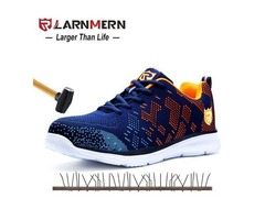 LARNMERN LIGHTWEIGHT BREATHABLE MEN SAFETY SHOES STEEL TOE WORK SHOES FOR MEN.