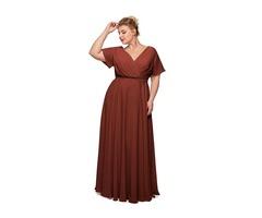 ALICEPUB FAUX WRAP V-NECK CHIFFON BRIDESMAID DRESSES LONG PROM FORMAL DRESS.