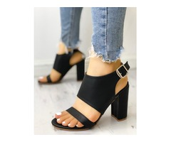 Solid Open Toe Buckled Chunky Heeled Sandals