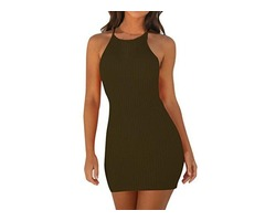 HAOLA WOMEN'S BASIC BODYCON TANK DRESS SEXY CASUAL SLEEVELESS SOLID LONG CLUB DRESS