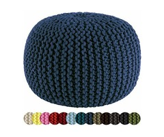 COTTON CRAFT – HAND KNITTED CABLE STYLE DORI POUF – BLACK – FLOOR OTTOMAN – 100% COTTON
