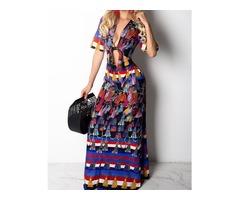 Ethnic Print Cutout Knot Front Maxi Dress