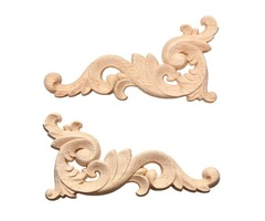 Wood Carving Decal Corner Frame Wall Door Decoration for Home Furniture