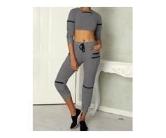 Fashion Zipper Design Cropped Drawstring Suit Set