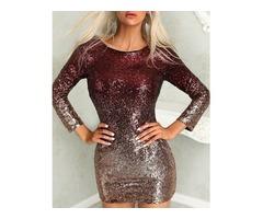 Gradient Color Sequins Open Back Bodycon Dress