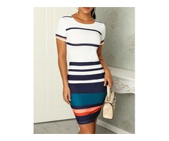 Contrast Color Splicing Striped Casual Dress