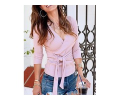 Solid Deep V Neck Wrapped Knot Front Blouse