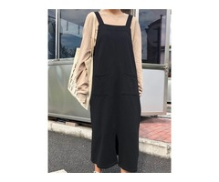 Casual Women Cotton Solid Color Wide Leg Pockets Dress