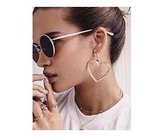 Plated Double Heart Pattern Pierced Drop Earrings | free-classifieds.co.uk