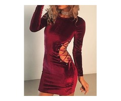 Trendy Side Lace-up Bodycon Mini Dress