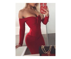 Off Shoulder Front Tie Bodycon Dress