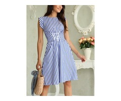 Stripes Sleeveless Lace-up Waist Casual Dress
