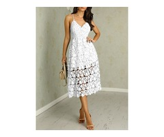 Hollow Out Crochet Lace Overlay Pleated Dress