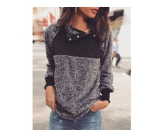 Contrast Color Fluffy Snap-Button Skew Neck Sweatshirt