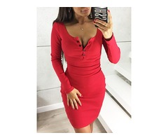 Solid Button Design Bodycon Dress