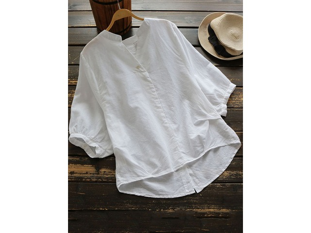 Irregular Buttons Solid Cotton Half Sleeve Vintage Blouse | free-classifieds.co.uk