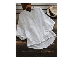 Irregular Buttons Solid Cotton Half Sleeve Vintage Blouse
