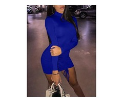 Long Sleeve Ruched Drawstring Design Mini Dress