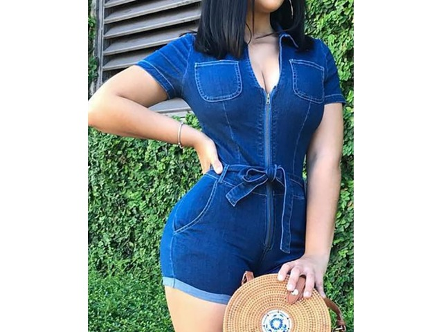 Zipper Up Tie Waist Roll Up Hem Denim Romper | free-classifieds.co.uk