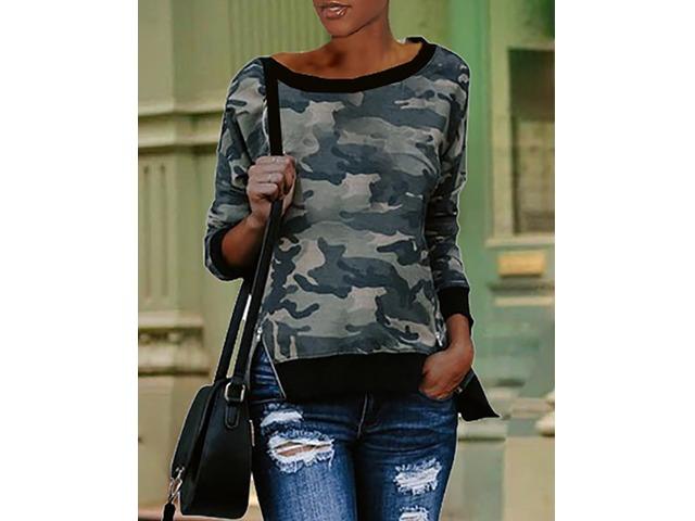 Camouflage Print Binding Long Sleeve Sweatshirts   free-classifieds.co.uk