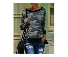 Camouflage Print Binding Long Sleeve Sweatshirts