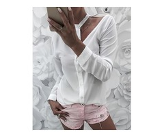 Solid Button Up Cutout Shoulder Shirt
