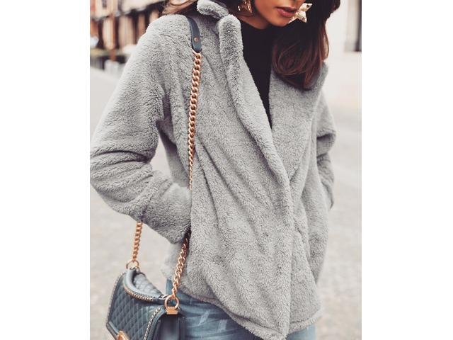 Solid Fluffy Pocket Design Long Sleeve Coat | free-classifieds.co.uk