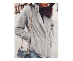 Solid Fluffy Pocket Design Long Sleeve Coat