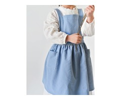 Children Girls Japanese Style Cotton Aprons Pockets Dress