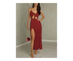 Trendy Twisted High Slit Maxi Romper Dress