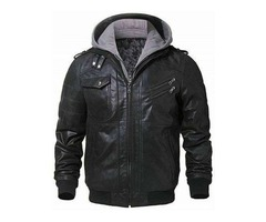 BLACK BIKER REMOVABLE HOOD GENUINE LEATHER JACKET