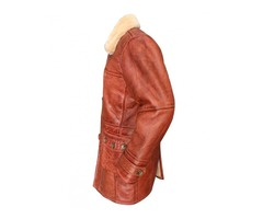 Dark Knight Rises Bane Coat Real Sheepskin Fur Leather Jacket
