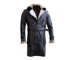 Black Friday—Elder Maxson Fall Out Distressed Leather Coat With Fur