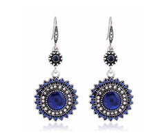 Bohemian Retro Ear Drop Pendant Turquoise Rhinestone Earrings Gift for Women