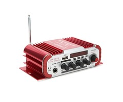 Kentiger™ HY600 12V Red Car and Motorcycle Dual Channel Universal Amplifier with Microphone