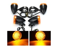 2pcs Front 2pcs Rear Motorcycle LED Turn Signal Light 41mm Fork Clamp For Harley