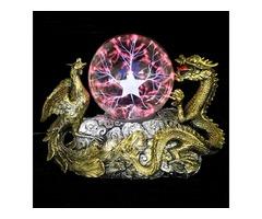 Gold Dragon Phoenix Base Plasma Ball Magic Table Lamp Sphere Tesla Light